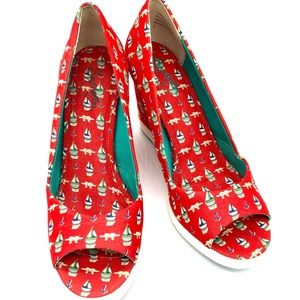 {Seychelles} Red Vintage Chic Sailboat Wedges 7